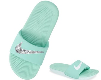 innovative design 0e2b7 c1808 Women s Nike Slides with Swarovski ~ MINT Color Bedazzled Kawa Nike Slides  GREAT GIFT For Her