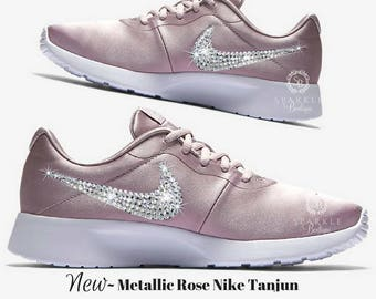 f47944082cf55 Custom Nike Shoe Swarovski ROSE Nike Tanjun Women s Custom Nike BLING Nike  Sparkly Nikes Crystal Nikes - Rose Color - SparkleBoutique2U