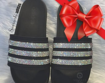 f7a5297fadb0b Swarovski adida Slides CHRISTMAS SPECIAL Bedazzled Adilette Cloudfoam Slides  Custom More Crystal Colors