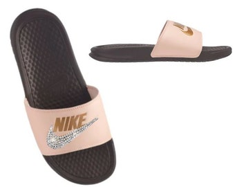 meet 36c3a cc758 Swarovski NIKE Slides Women s Bedazzled Sandals in Peach and Brown Sparkly  Shoes Great for Christmas