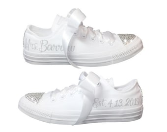 e611459e05f7 Wedding CONVERSE Bridal Sneaker with Swarovski Personalized with YOUR New  Name   Date- Wedding Shoe for BRIDE