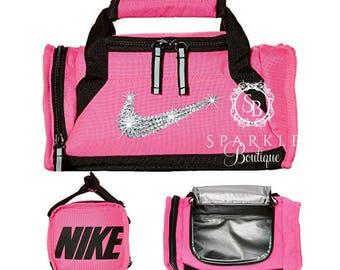 51450eba84 Swarovski Nike Lunch Bag - BLING Nike Lunch Bag - Nike Bling - Pink and  Black - Nike Cooler - SparkleBoutique2U