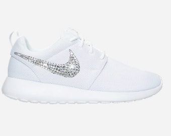 Swarovski Women s Nike Roshe BLINGED OUT All White Bedazzled Sparkly Shoes  Custom SparkleBoutique2U 70314774f192