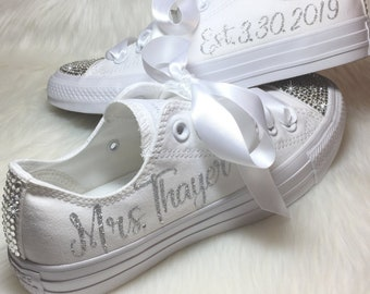 492727e7fdd51c sale wedding converse for the bride swarovski personalized chucks bling and  bedazzled with your new name