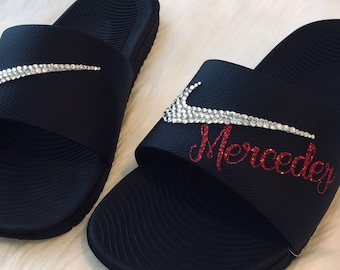21c0aa92dc12 Bling Nike Slides Personalized with YOUR Name Bedazzled Sparkly Nike Sandals