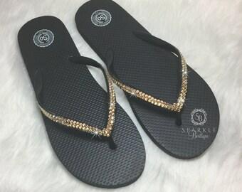 d03b0af83f188 Bling Flip Flops - Crystal Sandals - Bedazzled Shoes - Sparkly BLACK AND  GOLD Flip Flops - Thongs - SparkleBoutique2U