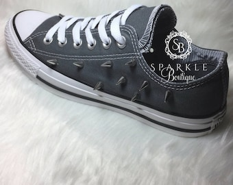 9d843ac287f Custom CONVERSE Punk Rock Style Chuck Taylor All Stars with Spikes Emo Style