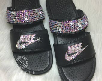 f66f6c5e1 Nike Duo Slides Blinged Out Sandals SWAROVSKI Bedazzled Shoes