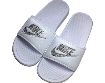 new arrival ad68e a48fd Nike Slides - Swarovski Wedding - Pearls and Bling - Bedazzled Nike - All  WHITE - Sparkly Nike Slides -