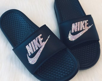 huge discount 26c67 279ad NIKE Slides Bedazzled Women s Sandals in Rose Gold and Black Sparkly Shoes  Great for Christmas. SparkleBoutique2U