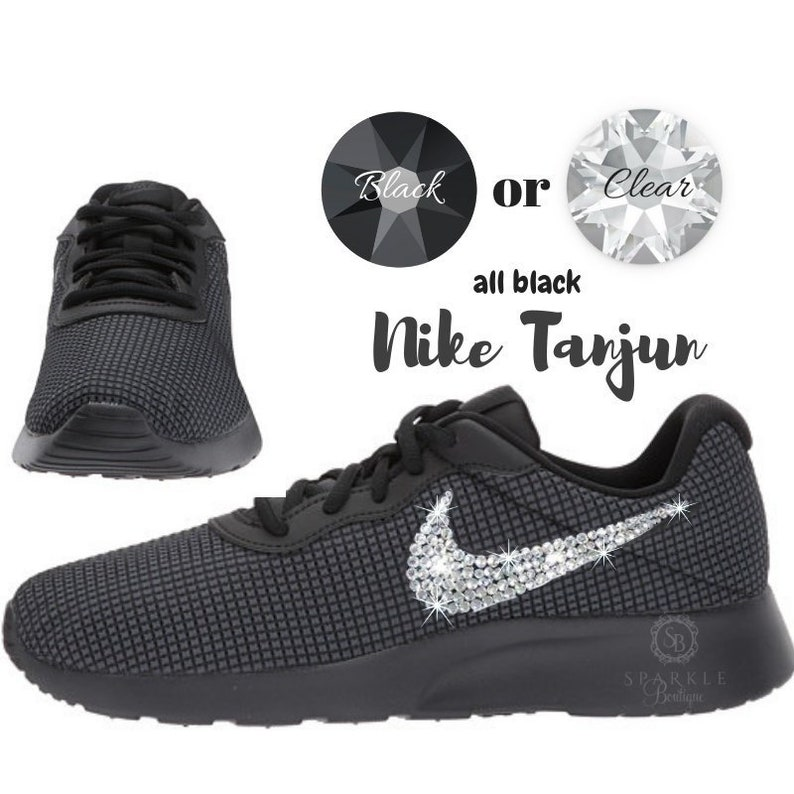 7f95351a91dfb Blinged Out Nike Sneakers Tanjun ALL BLACK Shoes For Women