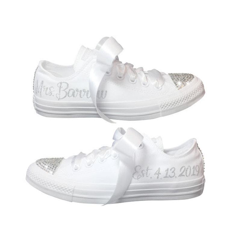 87b0c321afd3 Matrimonio CONVERSE sposa sneaker con Swarovski personalizzato