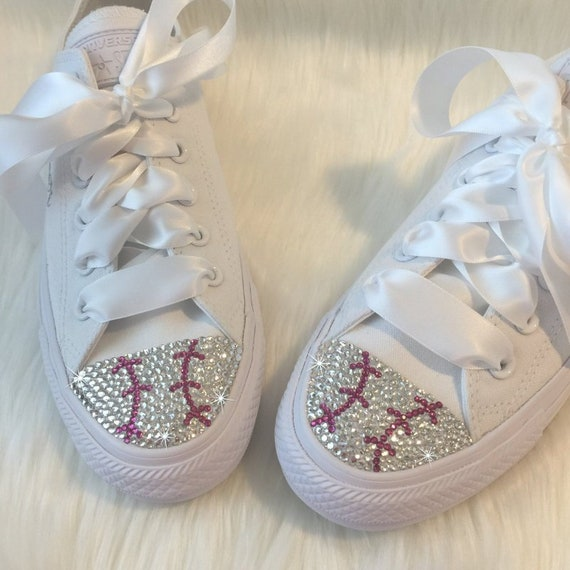 Women's Converse BASEBALL Design in Bling Chucks Bedazzled Baseball MOM Shoes