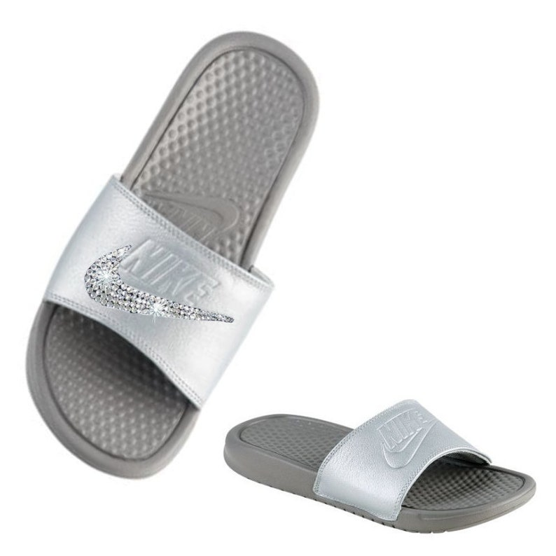 e0bad082579b Swarovski Nike Slides Metallic Custom Sliver Grey Bedazzled