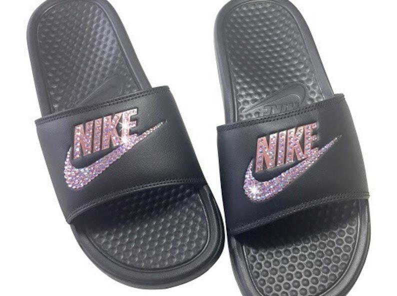 premium selection d08d0 c2515 Women s Nike Sandals Rose Gold Nike Slides Bedazzled   Etsy