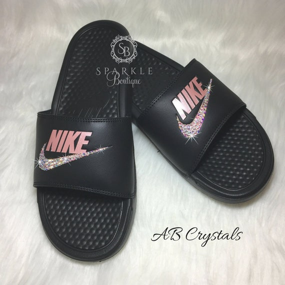12a9025866f0 ... wholesale custom nike sandals rose color bedazzled nike jdi slides  black and pink rose all sizes