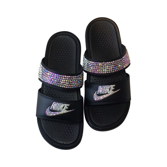 reasonable price reliable quality save up to 80% Nike Duo Slides Blinged Out Sandals SWAROVSKI Bedazzled Shoes   Etsy