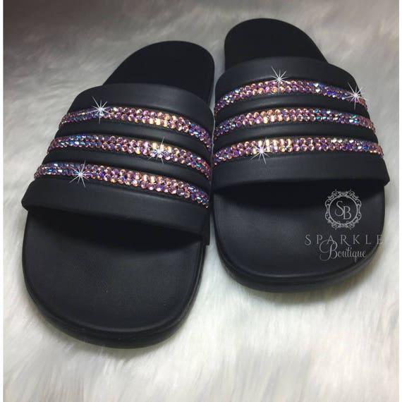 aa486b6d23545 Adidas Slides Bedazzled Slides, Adilette Cloudfoam Ultra, Custom, adidas  Bling Sandals