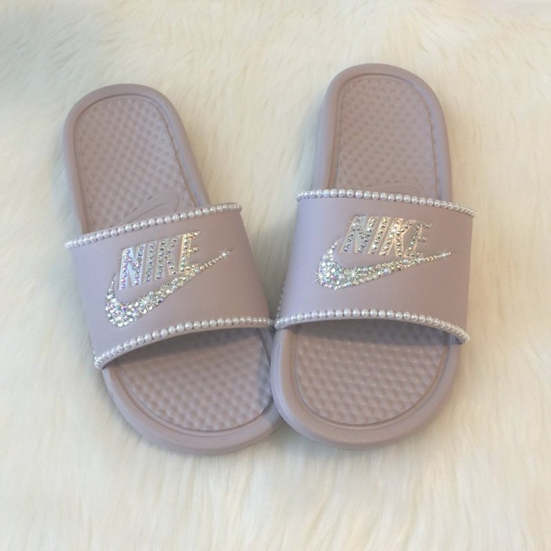 10cb7ff1847725 Swarovski Nike Slides Custom with Pearls   Bling Rose Pink