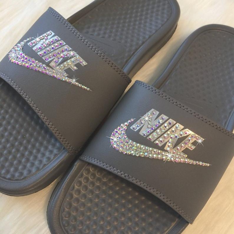 online store 05097 7b39b Blinged Glitter Nike Slides Swarovski GREY Custom NIKE JDI   Etsy