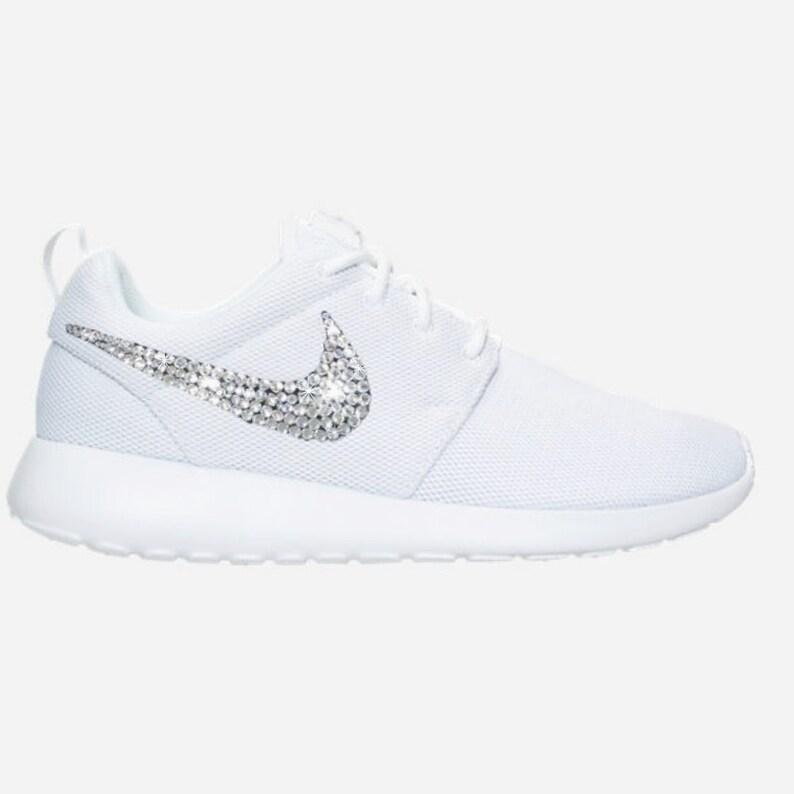Swarovski Women s Nike Roshe BLINGED OUT All White  100ef71fb