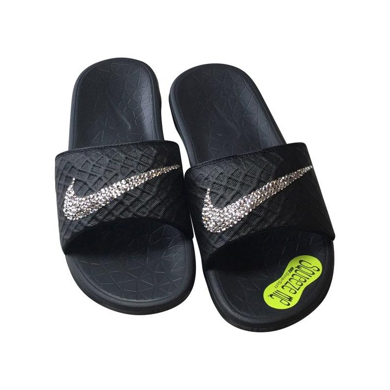 sale retailer fad67 b9bcb Women's Nike Slides with Bling on all Black Nike Solarsoft Sandals