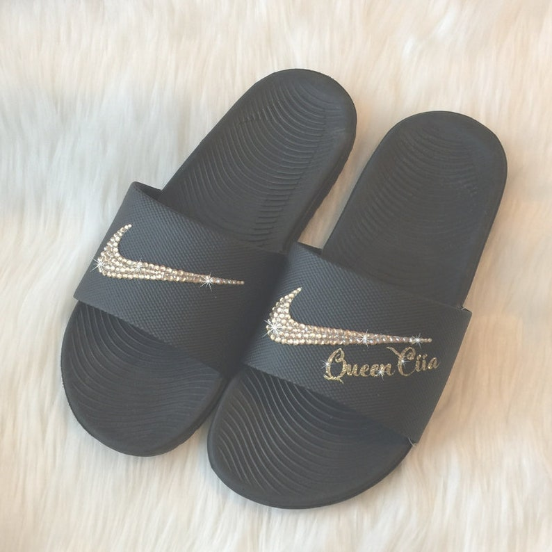 b2baa9f4e7a8 Nike Slides PERSONALIZED with YOUR Name Cheer Team or Team