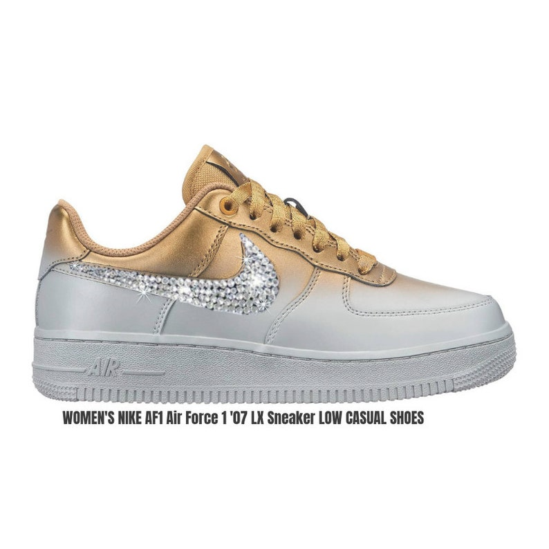 3087784c34f3 Swarovski Women s Nike AF1 BLINGED OUT Metallic Platinum