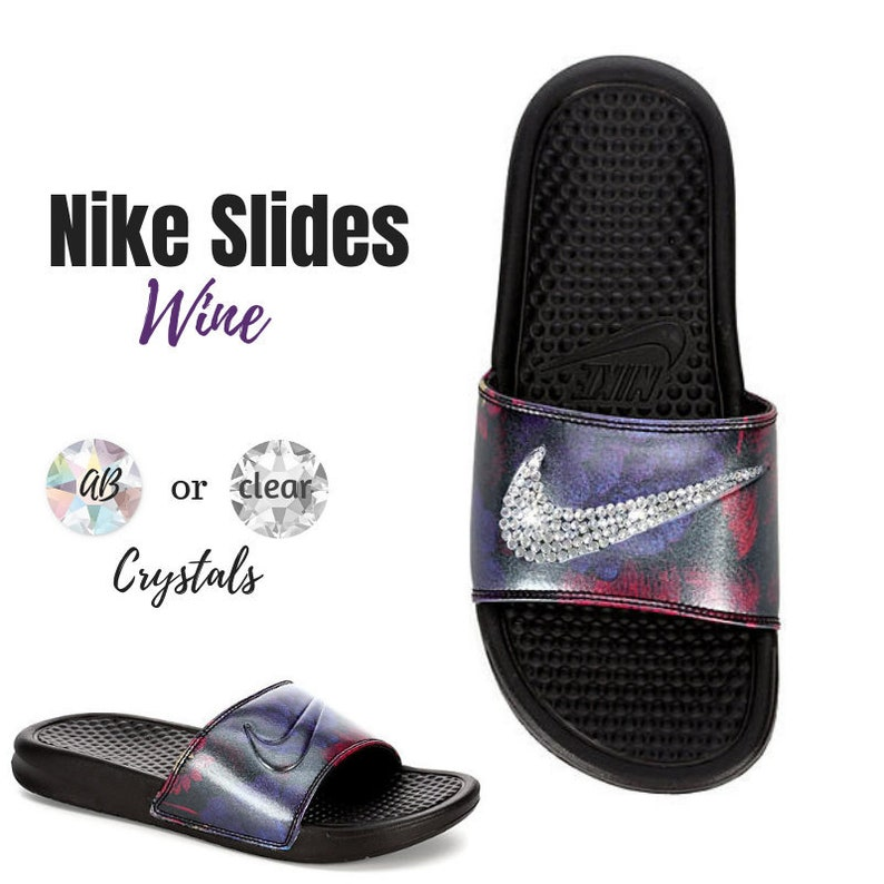 64f08b2eff47d9 Women s Swarovski Nike Slides in the New Wine Color Nike