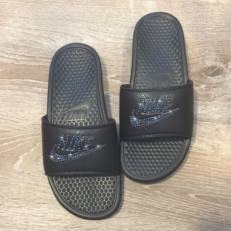 e5bfac90f1cbfa Bling NIKE Slides Bedazzled ALL BLACK Sparkly Nike Sandals for