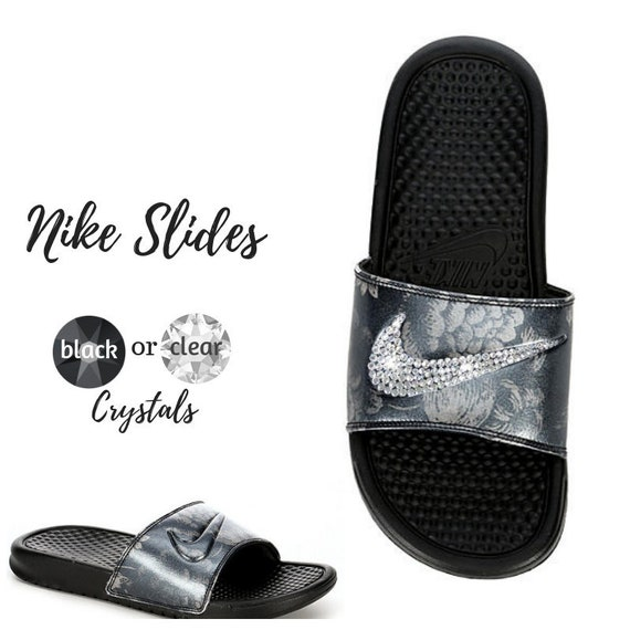 Swarovski Nike Bedazzled Black Slides Color Crystals Sandals Women's With R5Lqc3Aj4