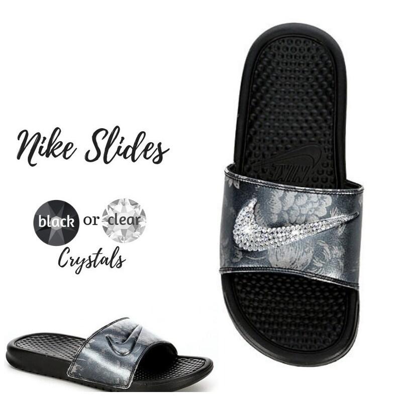 d3242c320d1d Women s Swarovski Nike Slides Black Color Bedazzled with