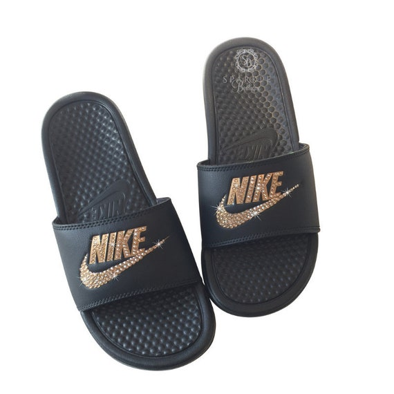 reputable site 32560 38e43 Nike Slides BLINGED OUT with GOLD Crystals - Bedazzled Glitter Nike Sandals
