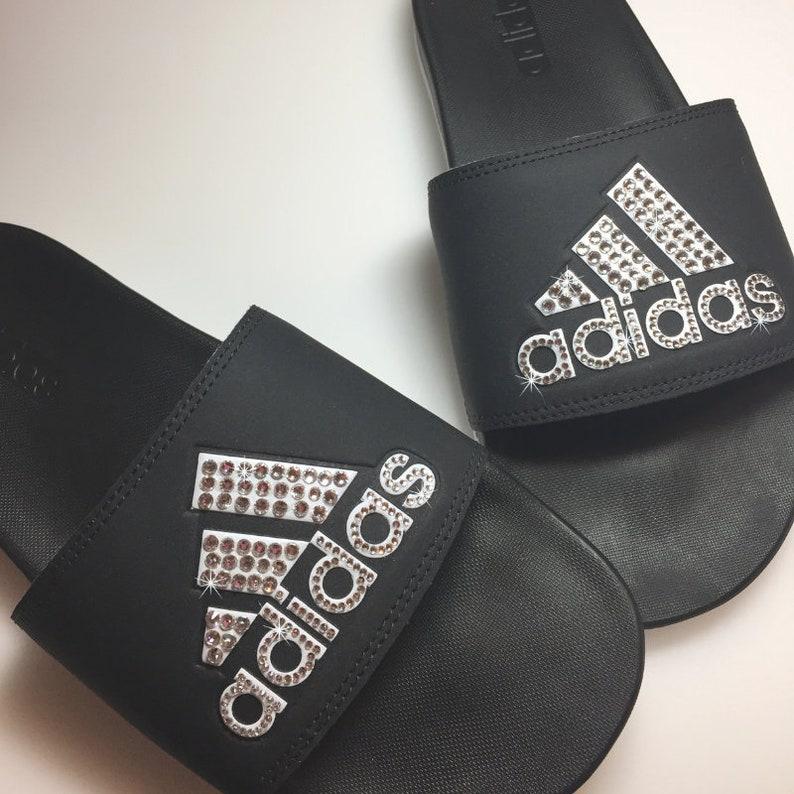 d9e42d703 Custom adida Slides Adidas Sandal Bling Slides Ships 1-3 Days | Etsy