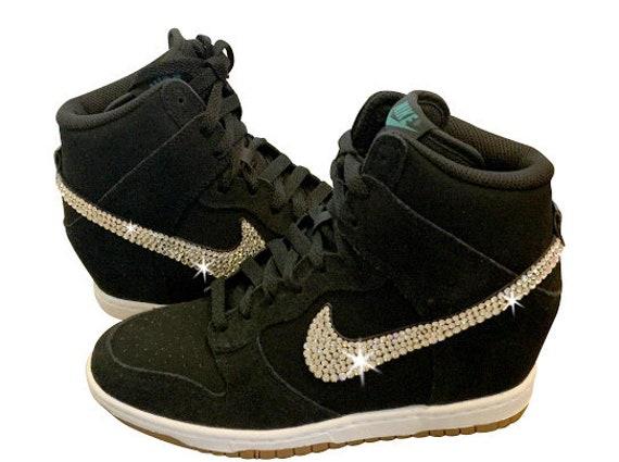 Swarovski Nike DUNK SKY High Women s Black Nike Sneakers  9a90800a9