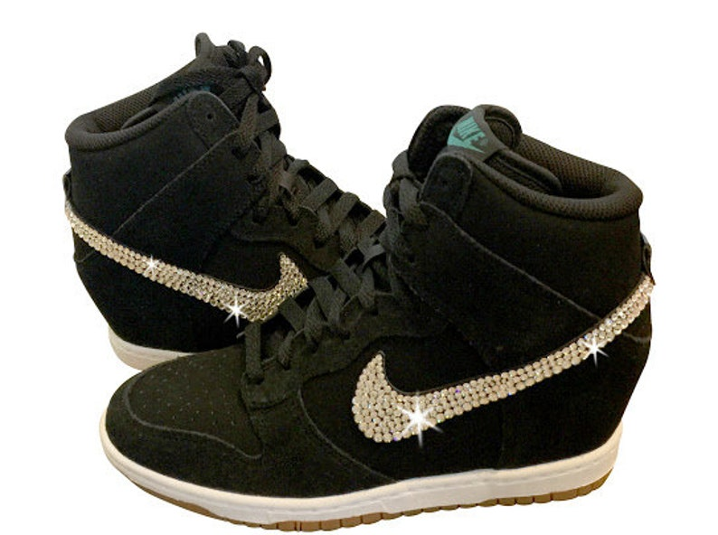 wholesale dealer ffab5 577c1 Swarovski Nike DUNK SKY High Women s Black Nike Sneakers   Etsy