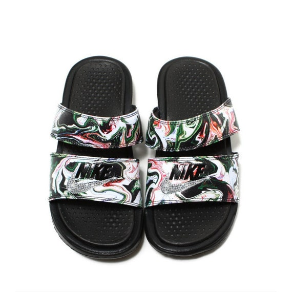 1051a45f1 Swarovski Nike Bling Nike Duo Slides Bling Sandals