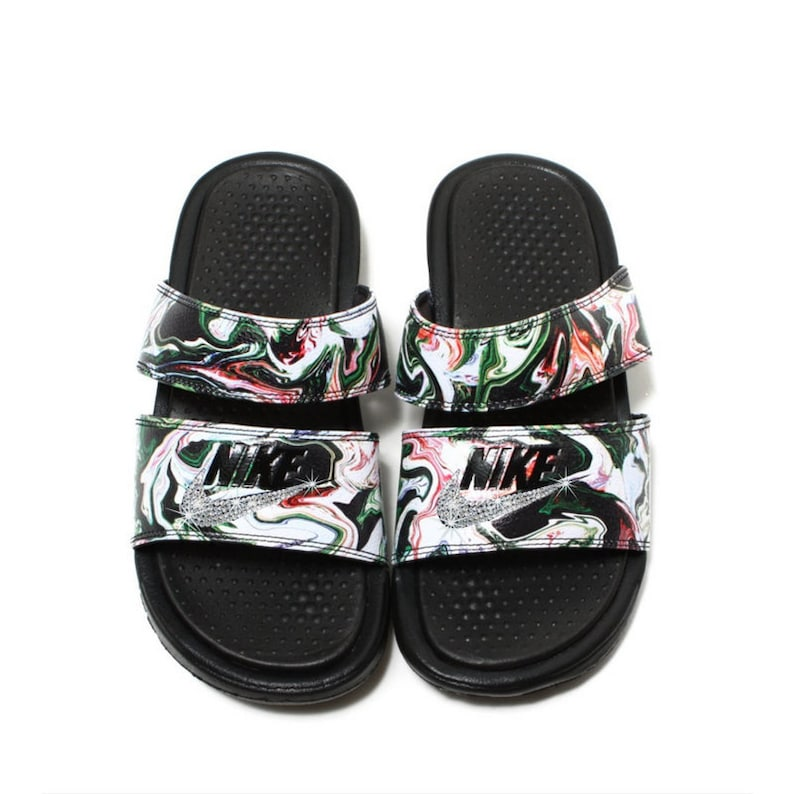 da3df54654c1dc Swarovski Nike Bling Nike Duo Slides Bling Sandals