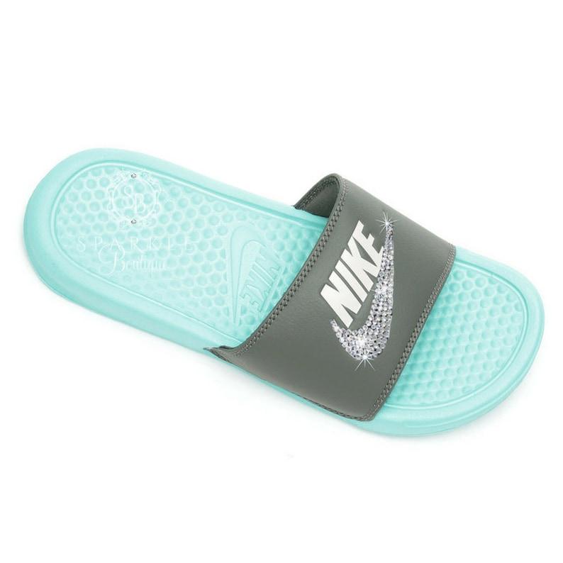 pretty nice eb487 674dd NIKE Slides Bling Nike Sandals Bedazzled Nike JDI Slides   Etsy