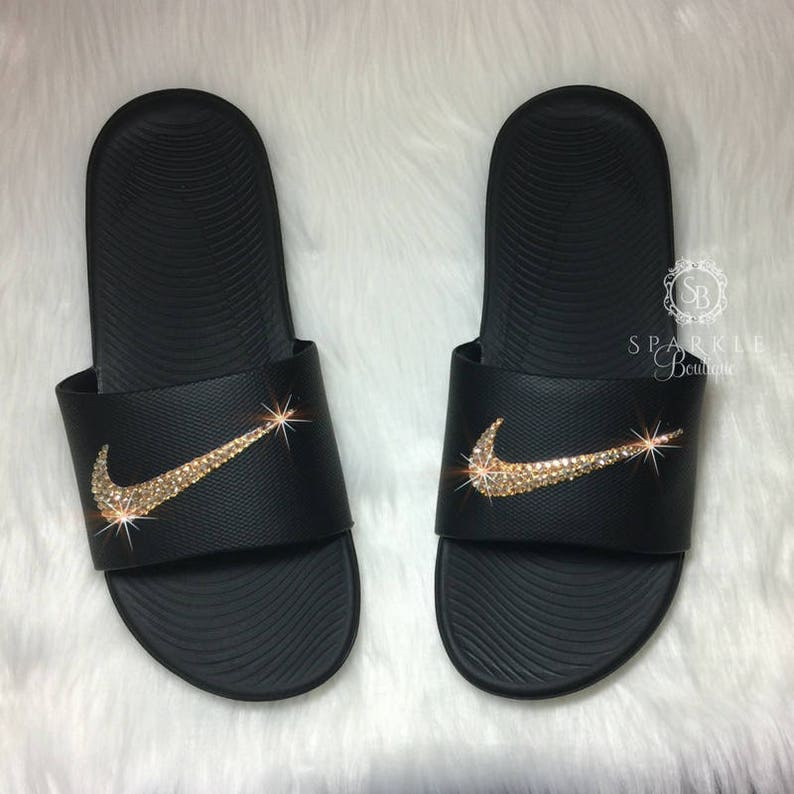 676603536dd228 Women s Nike Slides Vegas Golden Knights Colors Bedazzled