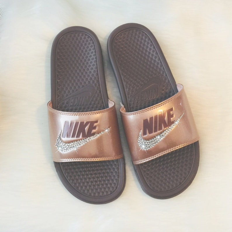 4ec0561a7a4fa Swarovski NIKE Slides Bedazzled BRONZE with Lots of Glitter