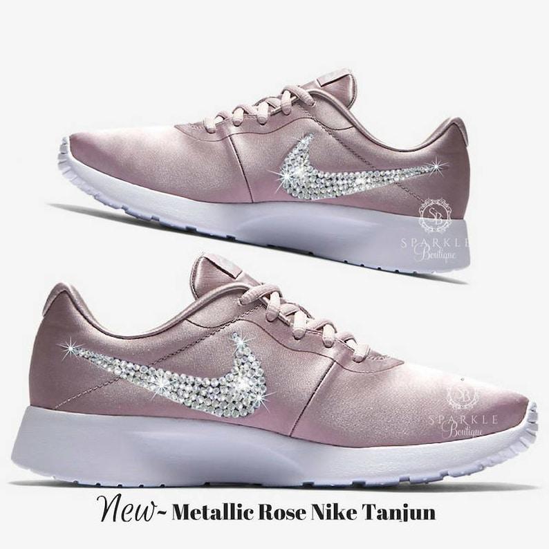 50f5e188988c Custom Nike Shoe Swarovski ROSE Nike Tanjun Women s