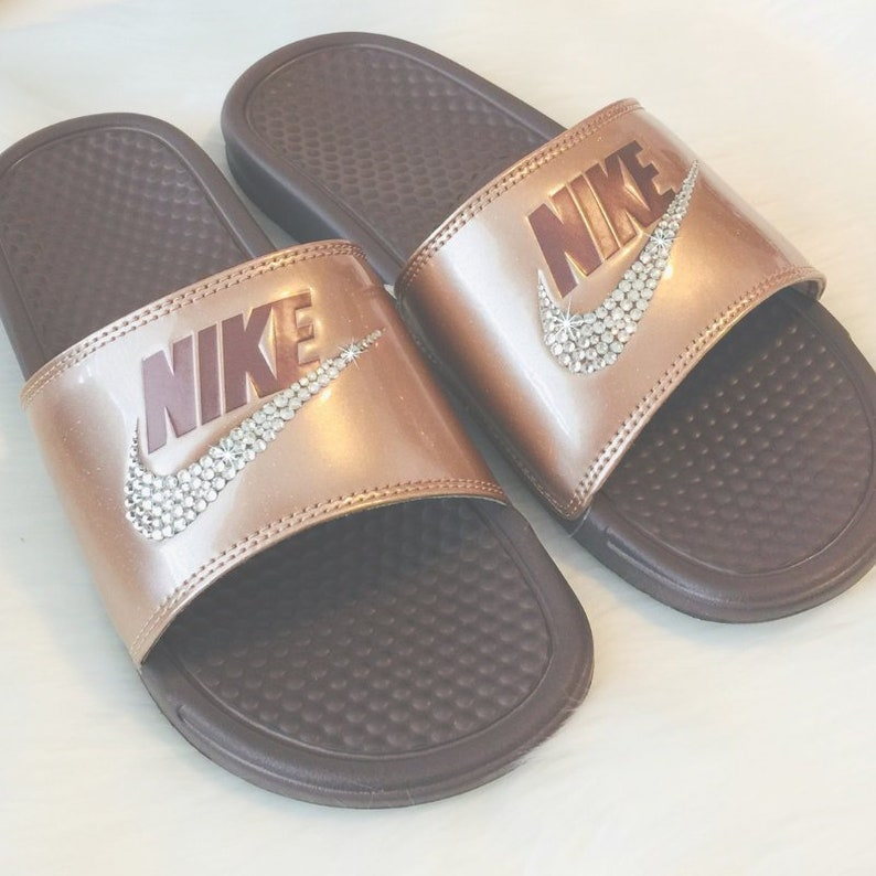 44faa82f2372 Swarovski NIKE Slides Bedazzled BRONZE with Lots of Glitter   Etsy
