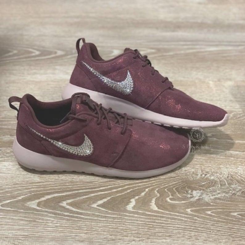 3fbbaeebe53a Women s Nike Roshe Blinged Out Metallic Mahogany Custom