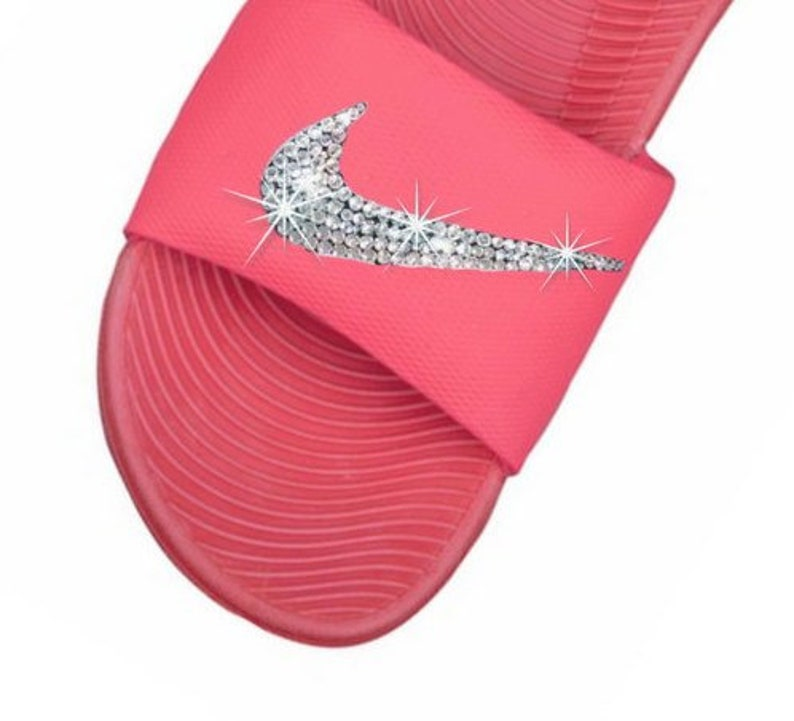 d296b2da4012 Swarovski Nike Slides CORAL Color Kawa Nike Blinged Out