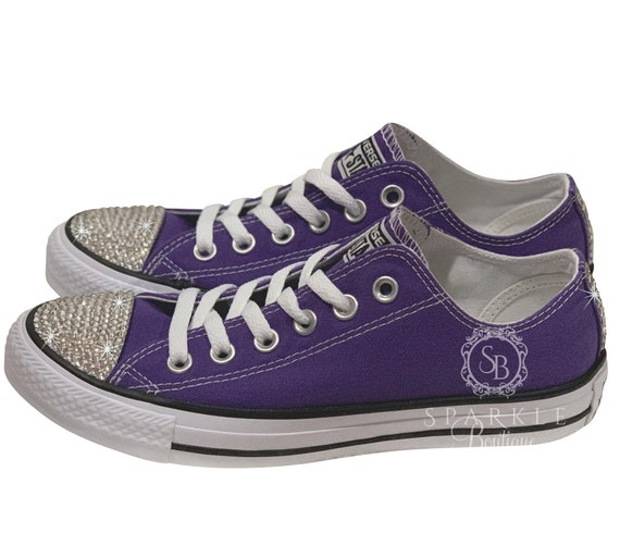 lowest price pretty cool huge inventory Swarovski Converse All Star - PURPLE - Bling Chucks - Bling Converse -  Swarovski Chucks - Bedazzled - Low Top - SparkleBoutique2U