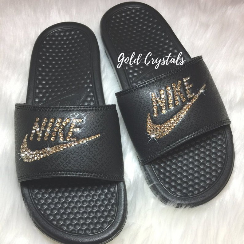 088561a69 Women s Nike Slides Bedazzled with Swarovski Crystals