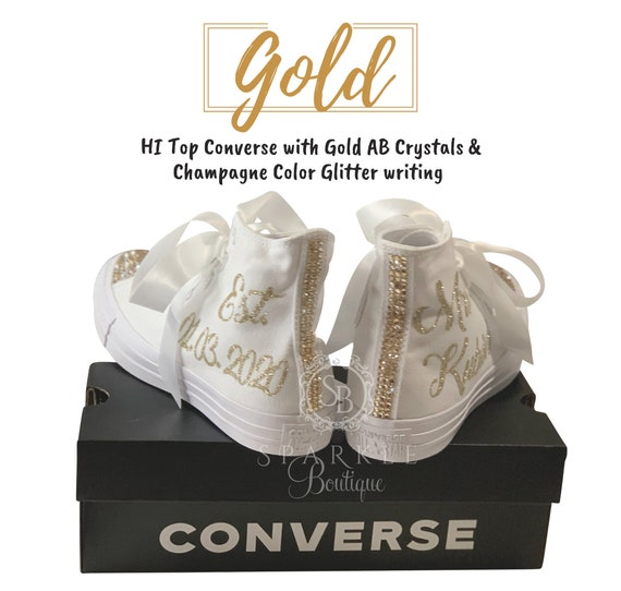 Wedding CONVERSE Bridal Shoes Hi Top Converse Personalized with Swarovski Bling Custom Chucks Bedazzled with Name & Date