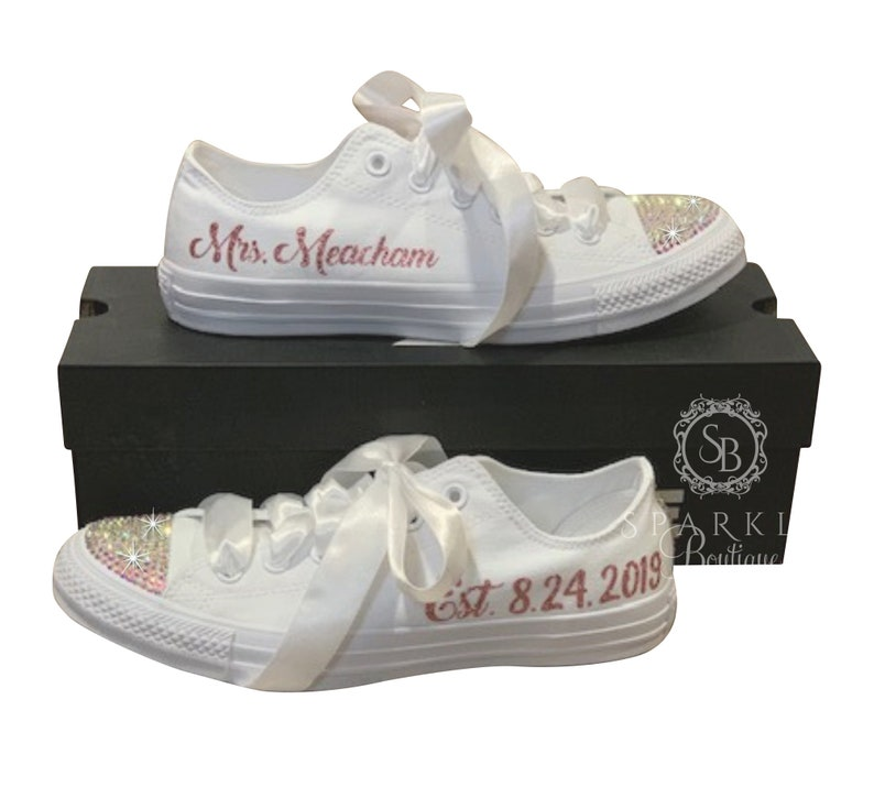 huge discount f4316 c12fa Wedding Converse Bridal Sneaker with ROSE GOLD Writing and AB Crystals  Personalized with Your New Name & Wedding Date