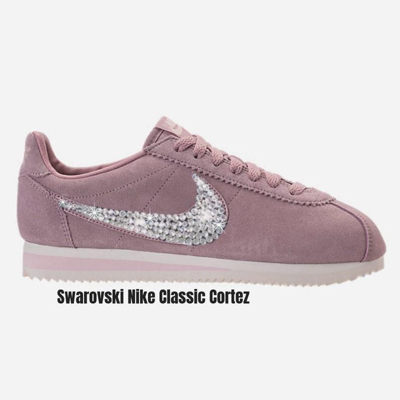 new arrival 74c52 648ee Swarovski Nike Classic Cortez ROSE Women's Rose Nike Sneakers Custom BLING  Sparkly Nikes - SparkleBoutique2U